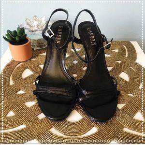 Lauren Ralph Lauren Aela Black Strappy Heels 7.5